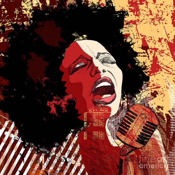 Wall Art - Digital Art - Music Jazz - Afro American Jazz Singer by Isaxar