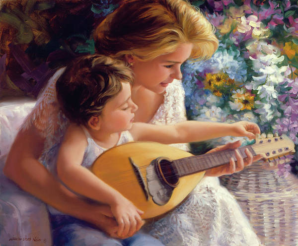 Wall Art - Painting - Music Lessons With Mom by Laurie Snow Hein