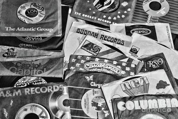 Wall Art - Photograph - Music-record Labels Black And White by Paul Ward
