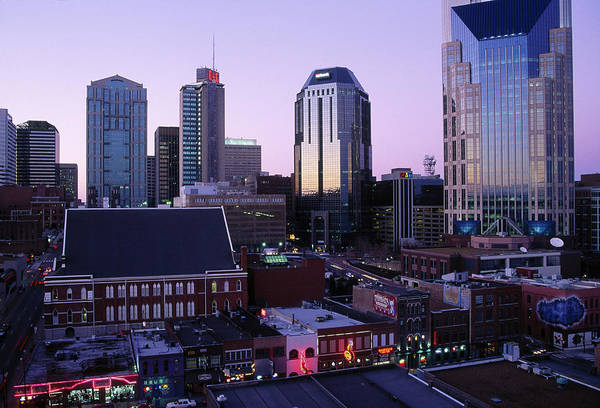 Wall Art - Photograph - Music Row, Ryman Auditorium And Skyline by Barry Winiker