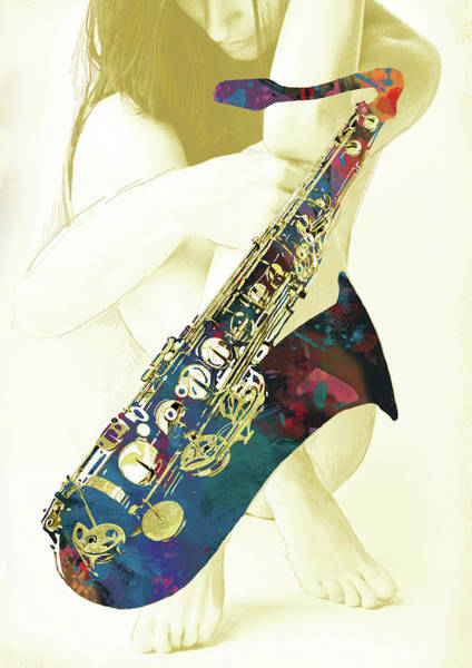 Wall Art - Mixed Media - Music - Saxophone With Nude Pop Art Poster by Kim Wang