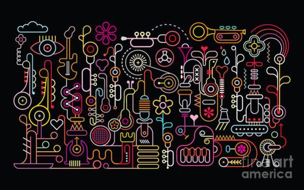 Manufacture Digital Art - Music Shop Abstract Art Vector by Danjazzia