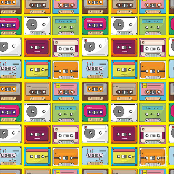 Wall Art - Digital Art - Music Tape Seamless Pattern by Notkoo
