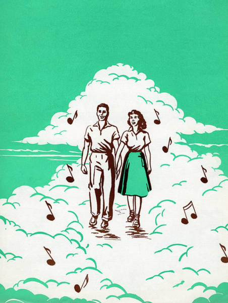 Cheerful Digital Art - Musical Couple In The Clouds by Graphicaartis