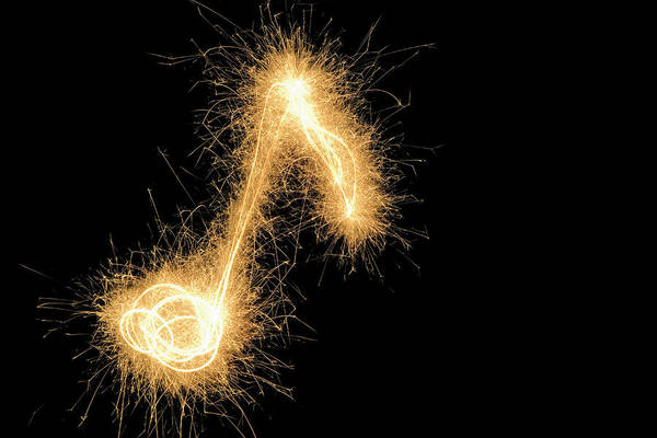 Fireworks Display Wall Art - Photograph - Musical Note Drawn With A Sparkler by Martin Diebel