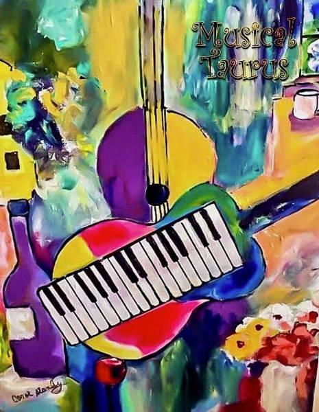 Wall Art - Painting - Musical Taurus by Carol Stanley