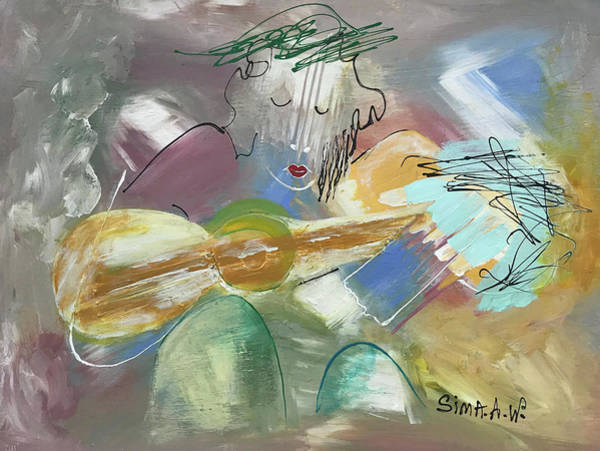 Painting - Musician #500 H by Sima Amid Wewetzer