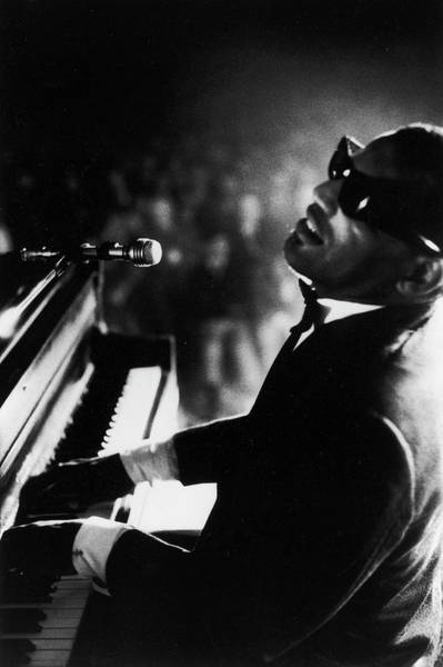 Photograph - Musician Ray Charles Playing Piano In by Bill Ray