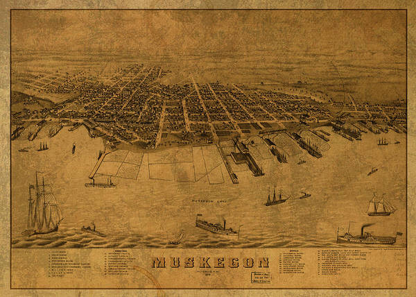 Wall Art - Mixed Media - Muskegon Michigan Vintage City Street Map 1874 by Design Turnpike