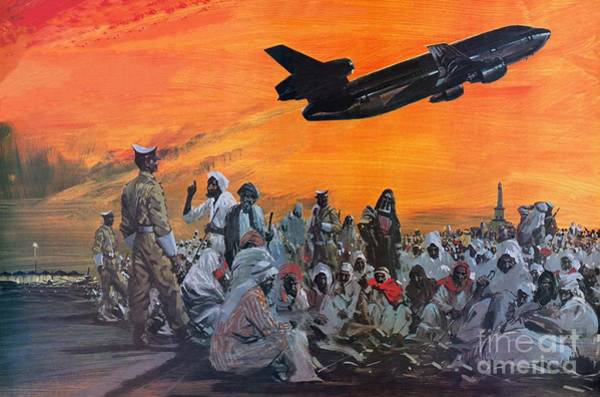 Pilgrimage Painting - Muslem Pilgrims In The Middle East Flying To Mecca By Douglas Dc10 by Graham Coton