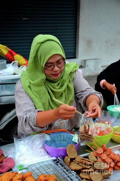 Photograph - Muslim Thai Woman Cook At Street Stall At Food Street Bazaar Pattani Thailand by Imran Ahmed