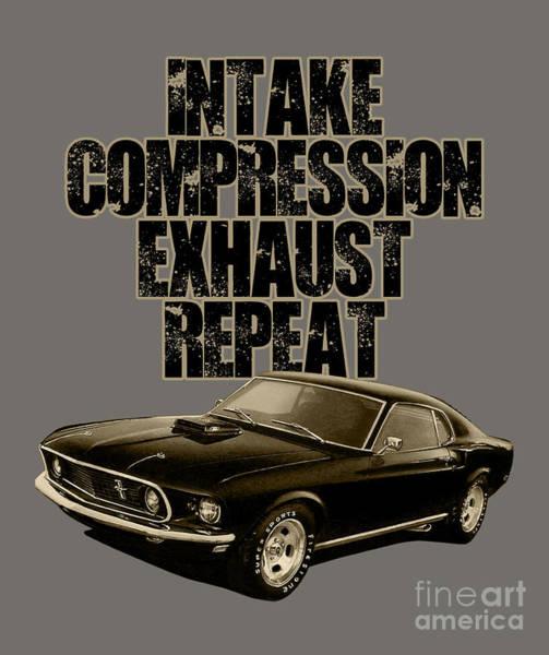 Exhaust Digital Art - Mustang Engine Cycle by Paul Kuras