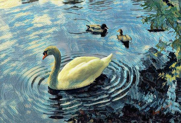 Digital Art - Mute Swan And Mallard Ducks. by Rusty R Smith