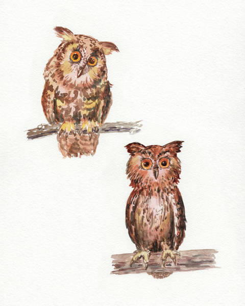 Wall Art - Painting - My Branch Is Higher Watercolor Owls by Irina Sztukowski