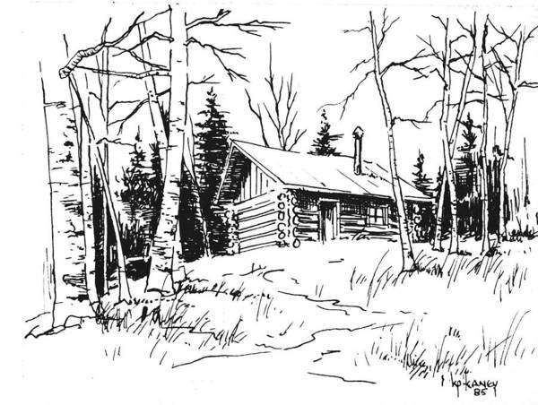 Drawing - My Cabin In The Woods by Kevin Heaney