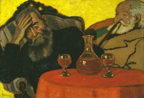 Wall Art - Painting - My Father And Piacsek  With Red Wine  by Jzsef Rippl Rnai