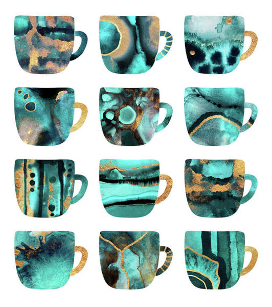 Cup Digital Art - My Favorite Coffee Cups by Elisabeth Fredriksson
