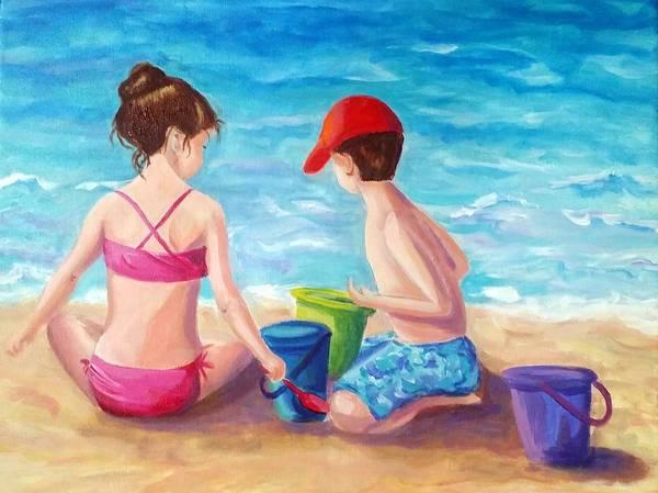 Wall Art - Painting - My Grandchildren by Rosie Sherman