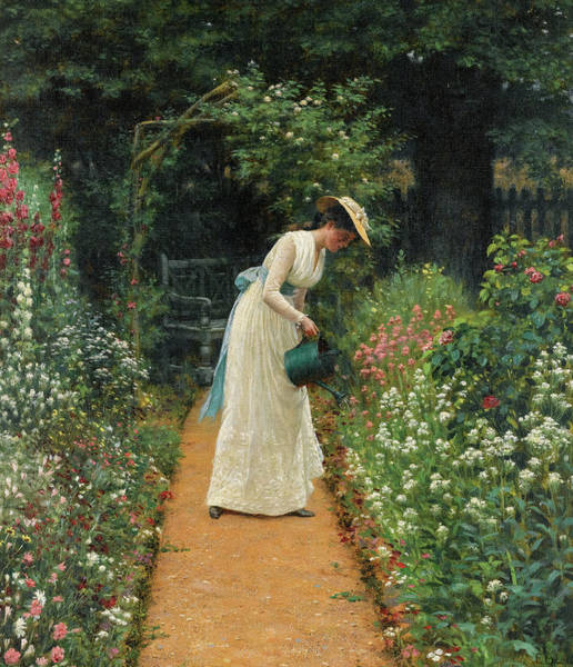 Wall Art - Painting - My Lady's Garden by Edmund Blair Leighton