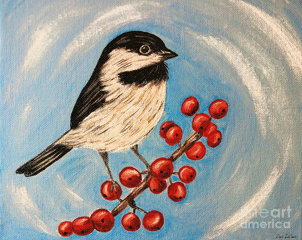 Wall Art - Painting - My Little Chickadee by Tina LeCour