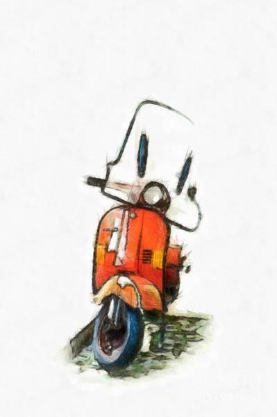 Wall Art - Digital Art - My Little Red Motor Scooter by Edward Fielding