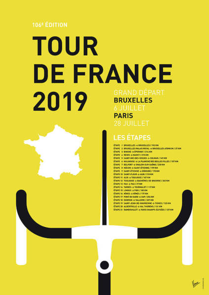 Wall Art - Digital Art - My Tour De France Minimal Poster 2019 by Chungkong Art