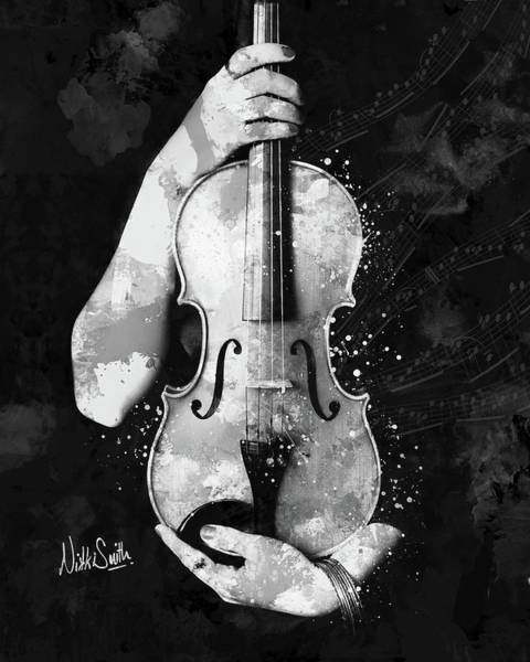 Digital Art - My Violin Whispers Music In The Night In Black And White by Nikki Marie Smith