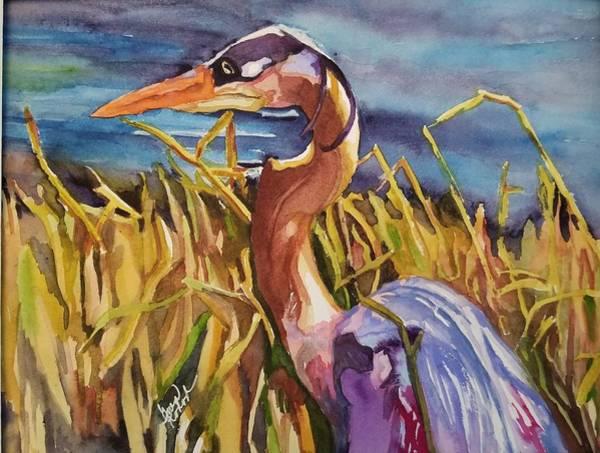 Waterbirds Wall Art - Painting - Myakka Blue Heron by Gwen Kodad