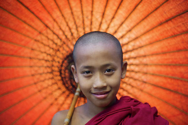 Parasol Photograph - Myanmar, Bagan, Buddhist Young Monk by Martin Puddy