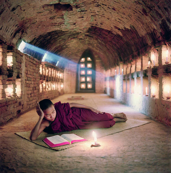 Real People Photograph - Myanmar, Buddhist Monk Inside by Martin Puddy