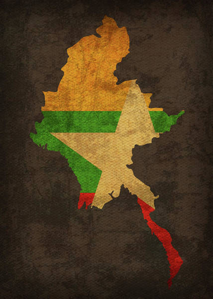 Burma Wall Art - Mixed Media - Myanmar Country Flag Map by Design Turnpike