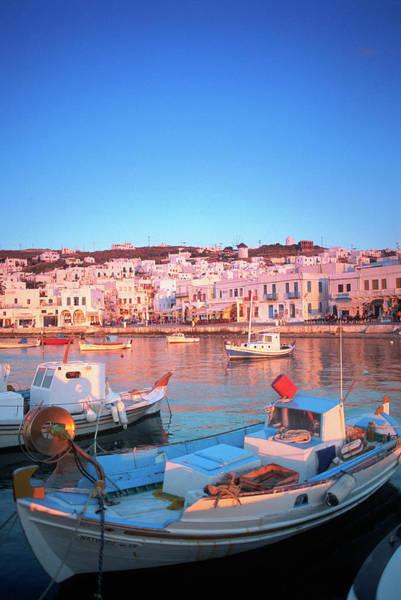 Greece Photograph - Mykonos Harbor, Mykonos, Greece by Peter Adams