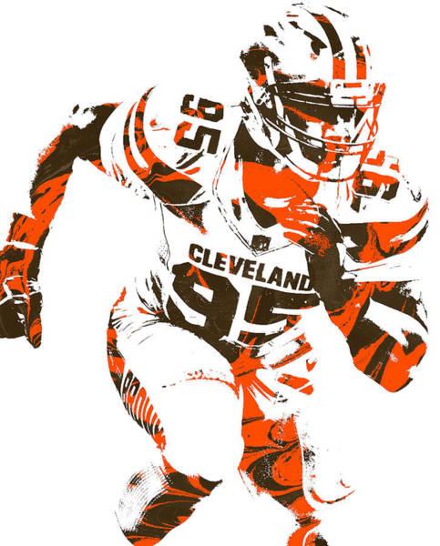 Wall Art - Mixed Media - Myles Garrett Cleveland Browns Pixel Art 1 by Joe Hamilton