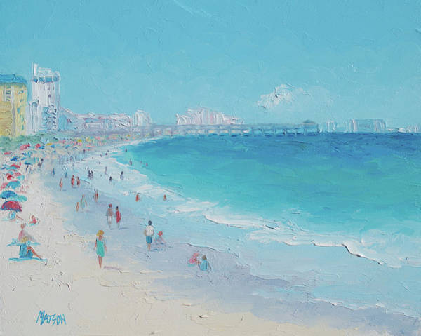 Myrtle Beach Wall Art - Painting - Myrtle Beach And Springmaid Pier by Jan Matson