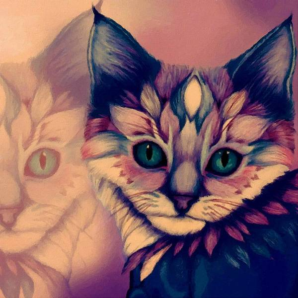 Wall Art - Painting - Mysterious Cat by ArtMarketJapan