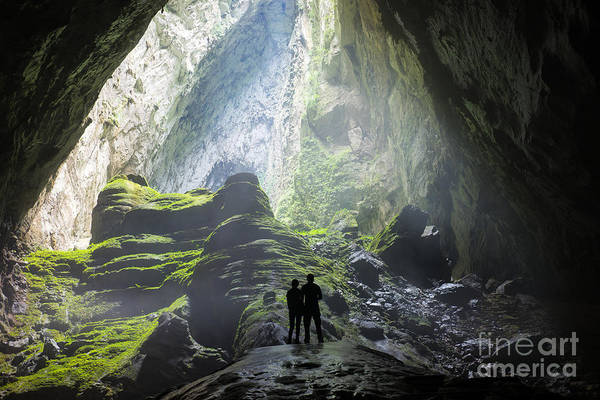 Dark Shadows Photograph - Mystery Misty Cave Entrance In Son by Vietnam Stock Images