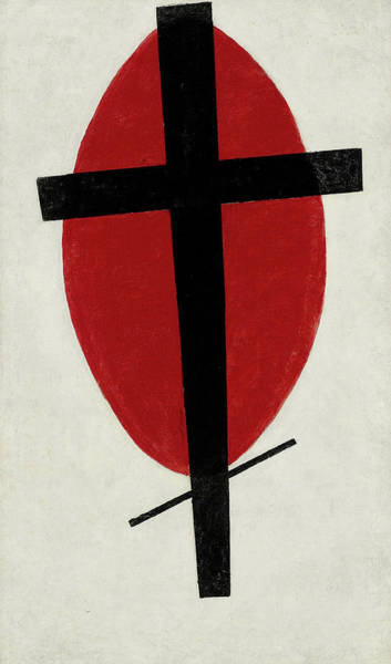 Improvisations Wall Art - Painting - Mystic Suprematism - Black Cross On Red Oval, 1920-1922 by Kazimir Malevich