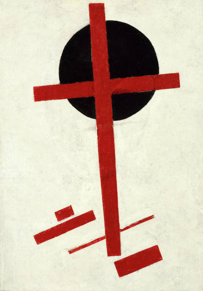 Improvisations Wall Art - Painting - Mystic Suprematism - Red Cross On Black Circle, 1920-1922 by Kazimir Malevich