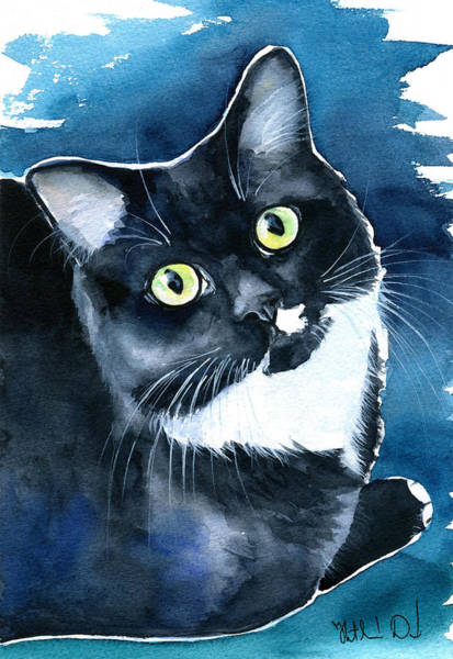Painting - Mystical Marina Fluffy Tuxedo Cat Painting by Dora Hathazi Mendes