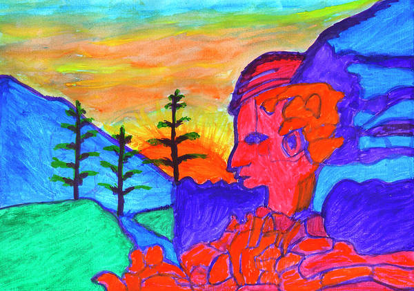 Painting - Mystical Rock With A Profile At Sunrise by Irina Dobrotsvet