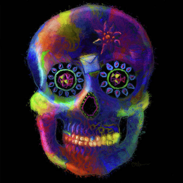 Wall Art - Painting - Mystico Sugarskull Of Letters by Miko Zen