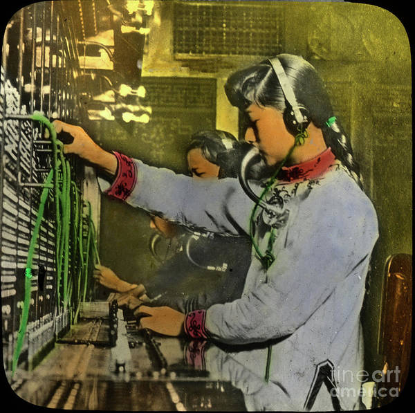Photograph - An Early Chinese Telephone Operator In Chinatown, San Francisco,  by California Views Archives Mr Pat Hathaway Archives
