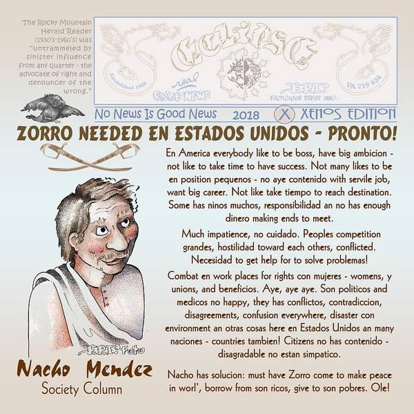 Digital Art - Nacho Mendez And Zorro With Society Column by Dawn Sperry