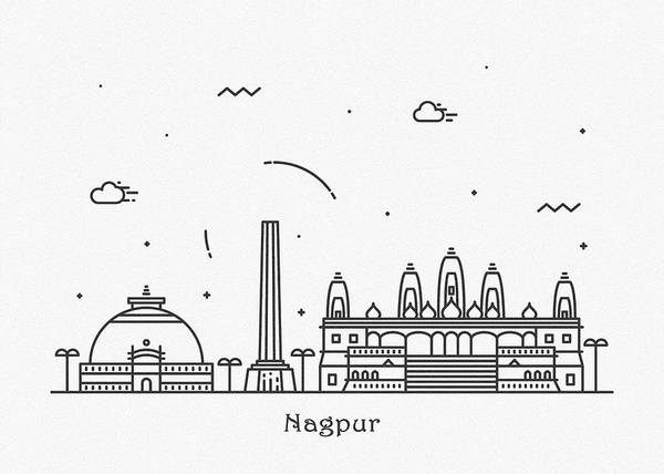 India Drawing - Nagpur Cityscape Travel Poster by Inspirowl Design