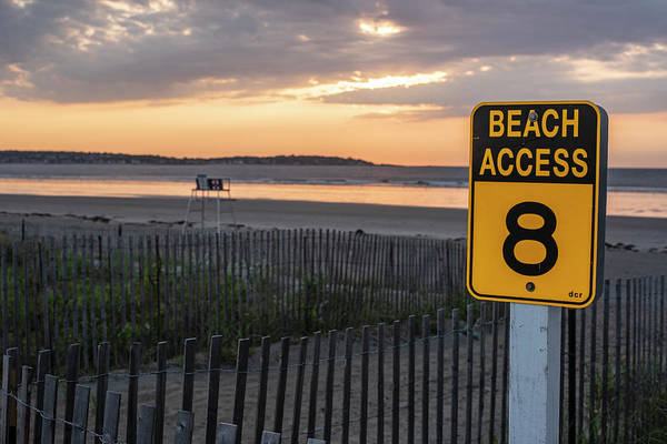 Wall Art - Photograph - Nahant Sunrise Beach Access 8 Nahant Ma Nahant Beach Yellow Sign by Toby McGuire
