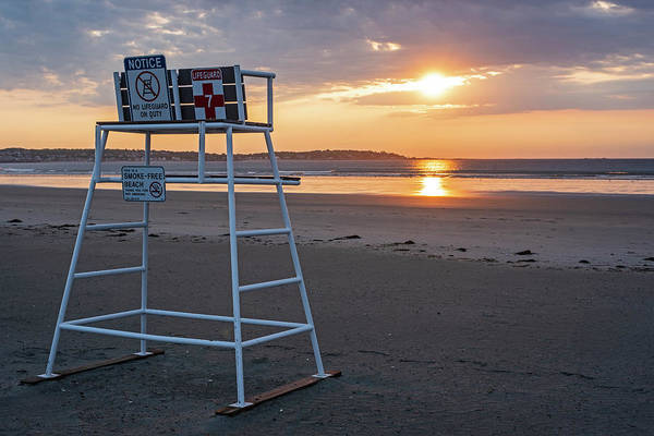 Photograph - Nahant Sunrise Lifeguarrd Chair Nahant Ma by Toby McGuire