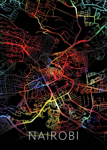Kenya Mixed Media - Nairobi Kenya Africa City Watercolor Street Map Dark Mode by Design Turnpike