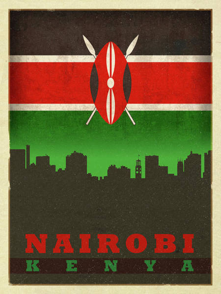 Wall Art - Mixed Media - Nairobi Kenya City Skyline Flag by Design Turnpike