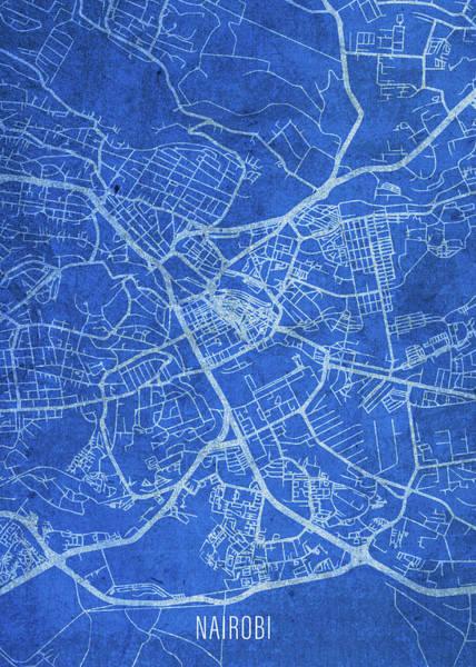 Wall Art - Mixed Media - Nairobi Kenya City Street Map Blueprints by Design Turnpike