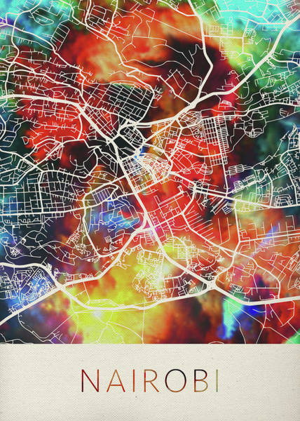Kenya Mixed Media - Nairobi Kenya Watercolor City Street Map by Design Turnpike